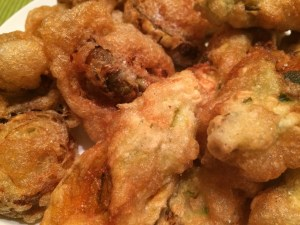 Artichoke Hearts and Squash Blossoms fried in an egg white batter