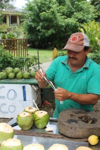The gentleman prepping our coconut water.