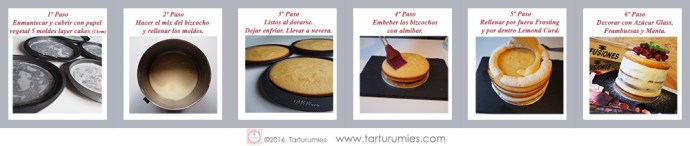 Pasos Armado Naked Cake Limón y Frambuesas Tarturumies