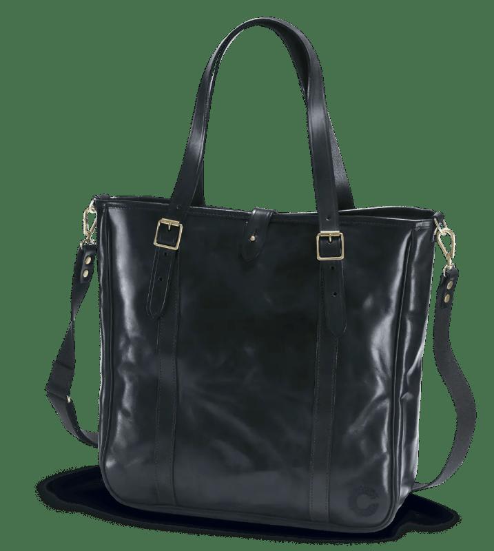 Schwarz Malton Tote Bag im Vordergrund