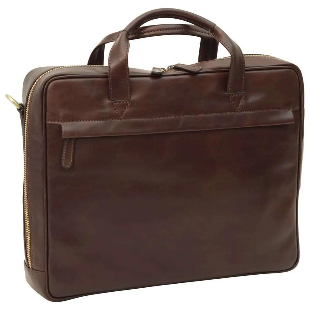 Front Leder Laptoptasche mit Reißverschluss diunkelbraun