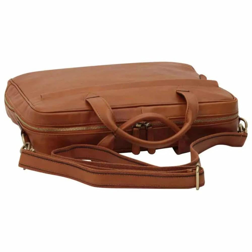 Liegende Leder Laptoptasche mit Reißverschluss Kolonial