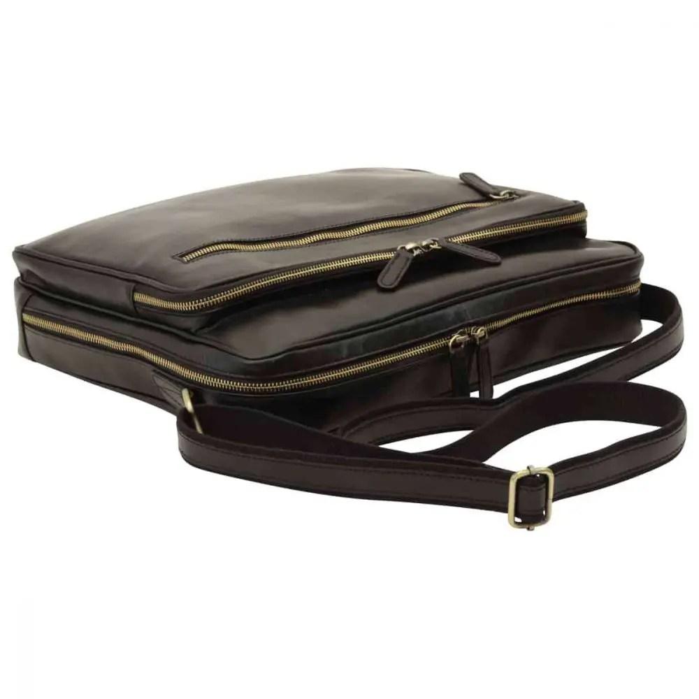 Liegende Große Laptoptasche aus Leder Schwarz