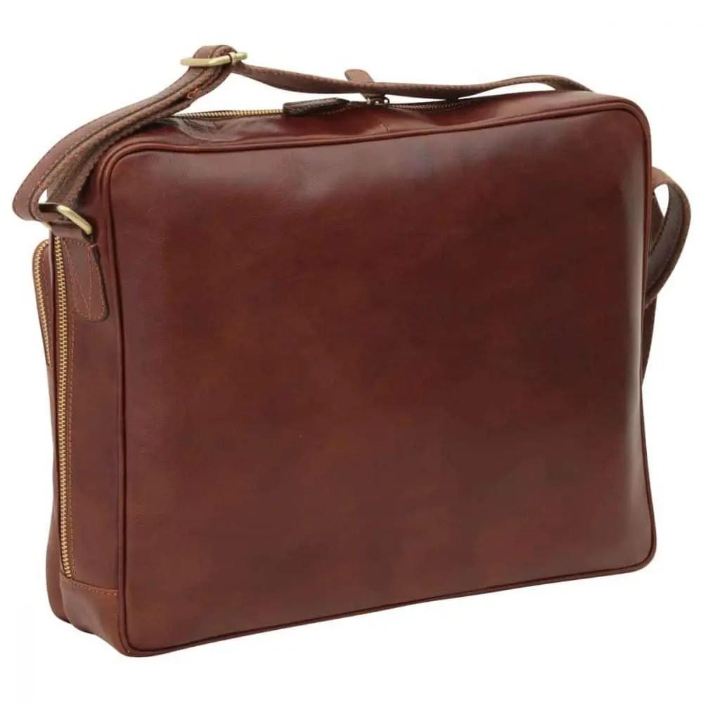 Rückseite Große Laptoptasche aus Leder Braun