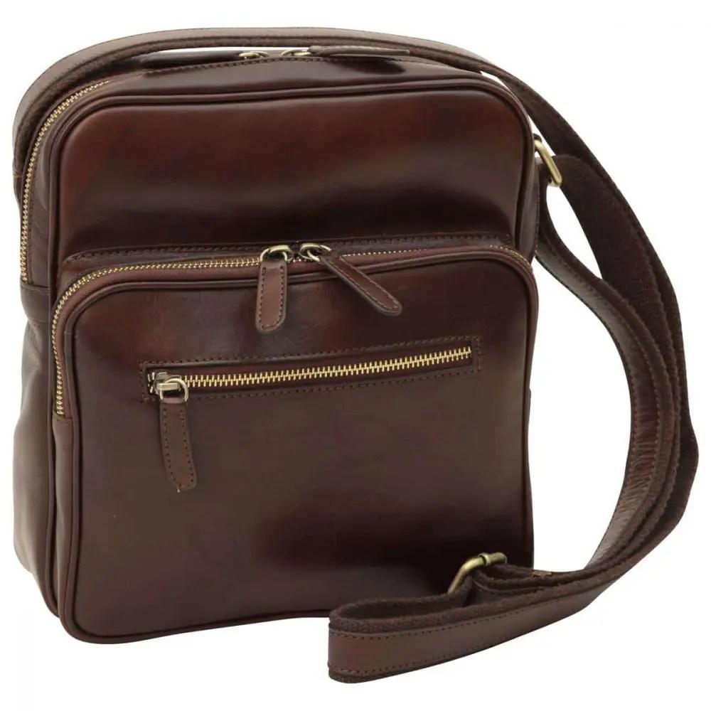 Front kleine Laptoptasche aus Leder dunkelbraun