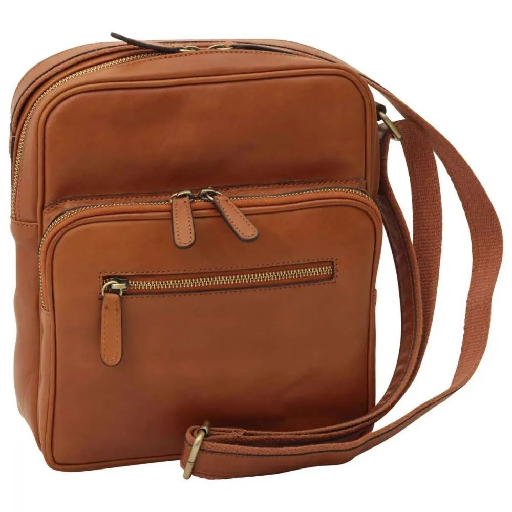 Front kleine Laptoptasche aus Leder kolonial