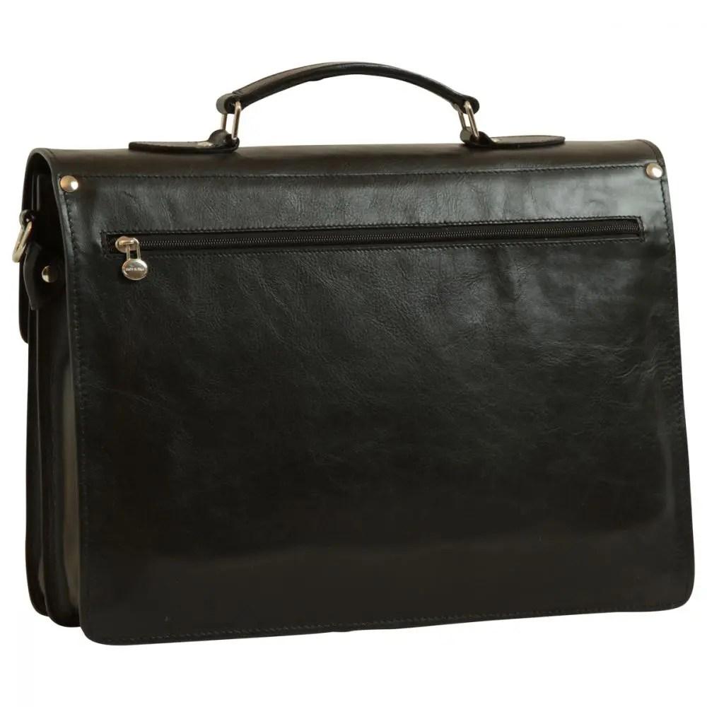 Rückseite Lederaktentasche schwarz