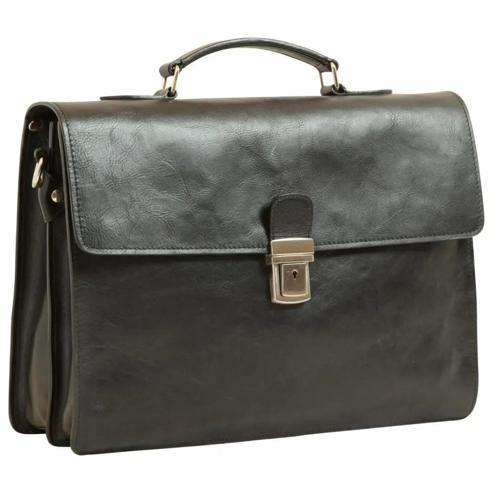Frontal Lederaktentasche schwarz