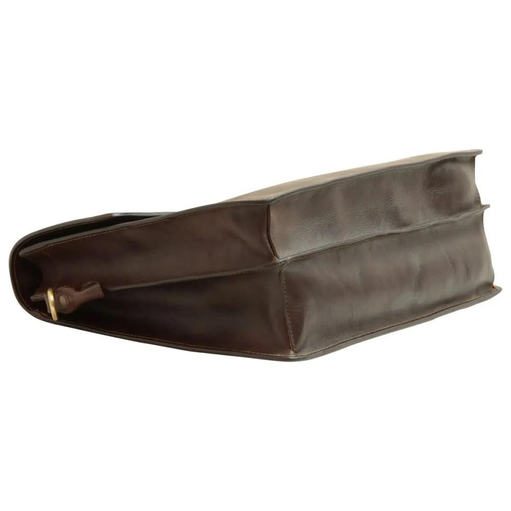 Liegende Lederaktentasche dunkelbraun