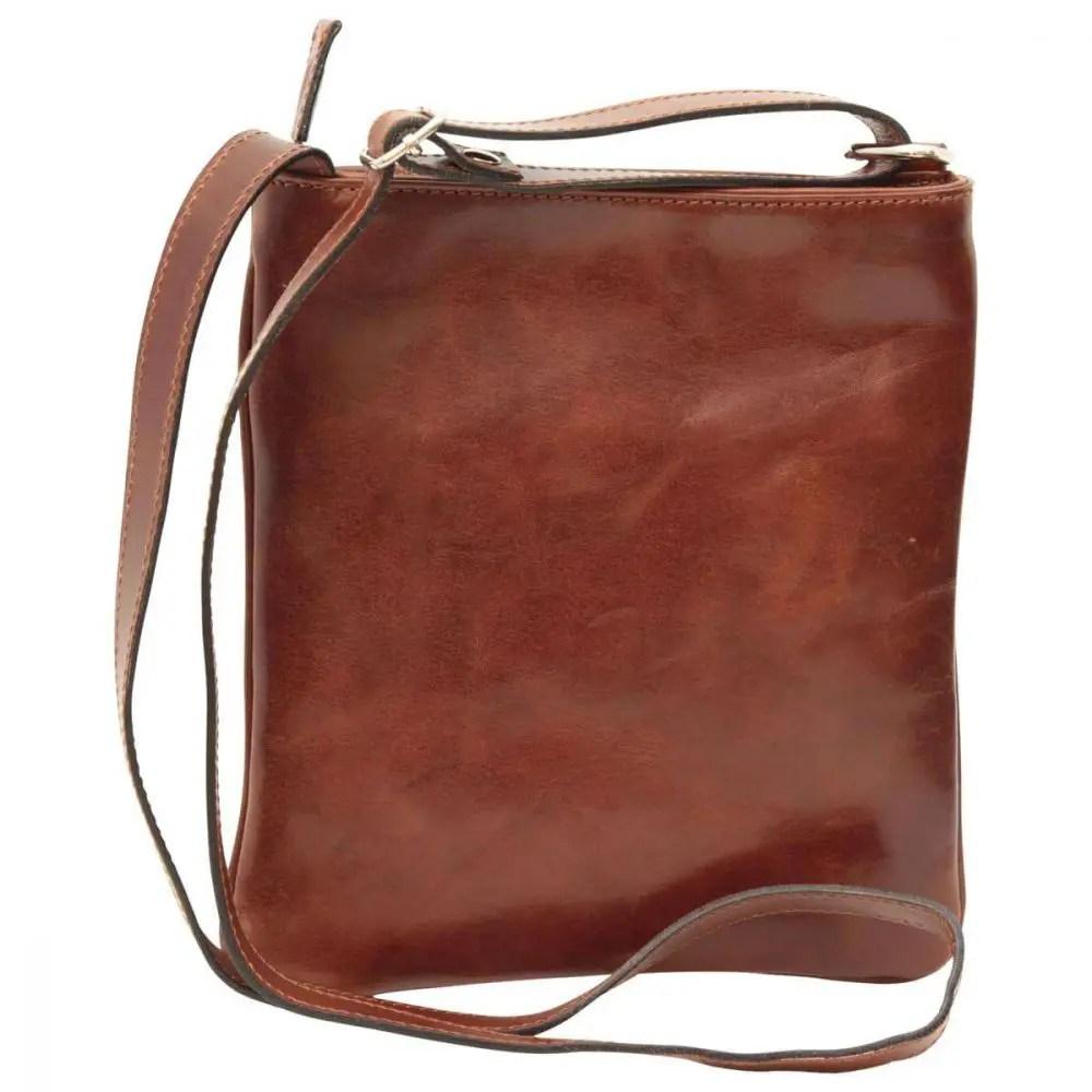 Rückseite Cross Body mit Reißverschlusstasche aus Leder