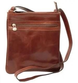 Cross Body mit Reißverschlusstasche aus Leder