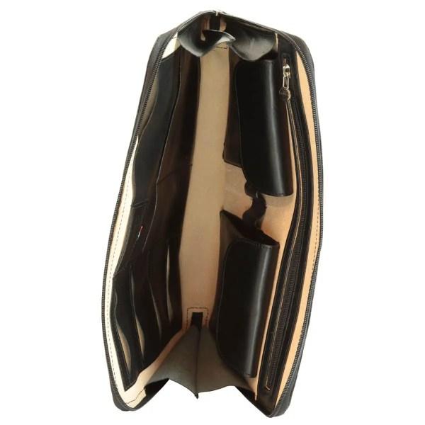 Offene Leder Portfolio black
