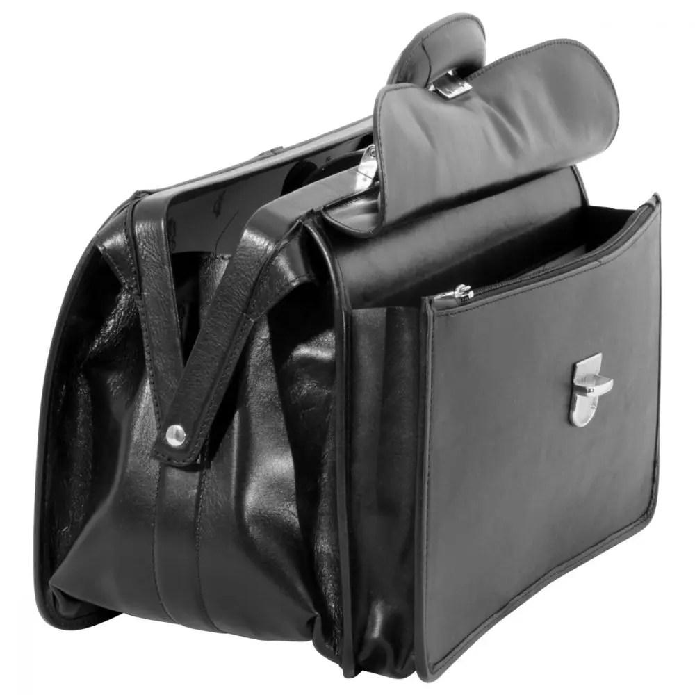Offene Arzttasche aus Leder schwarz