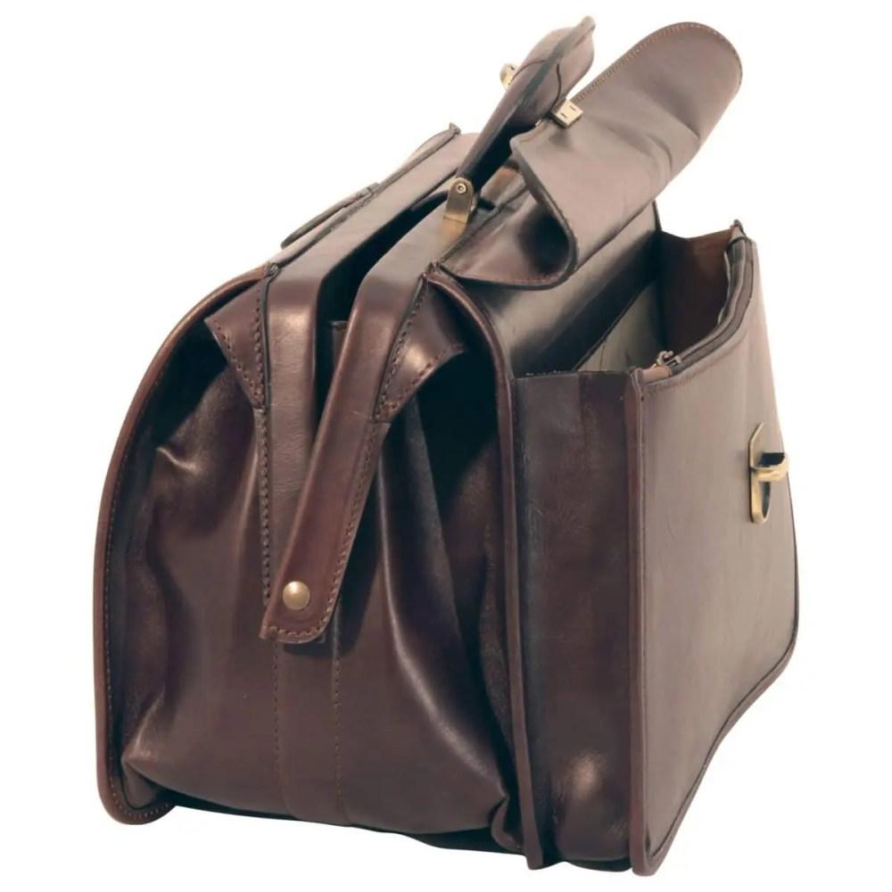 Seite Arzttasche aus Leder dunkelbraun