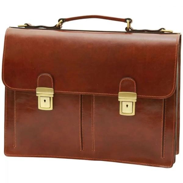 Front Lederaktentasche mit 2 Fronttaschen