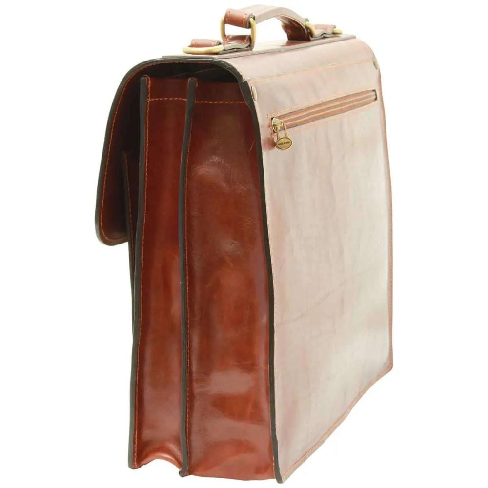 Seitenansicht Lederaktentasche mit 2 Fronttaschen