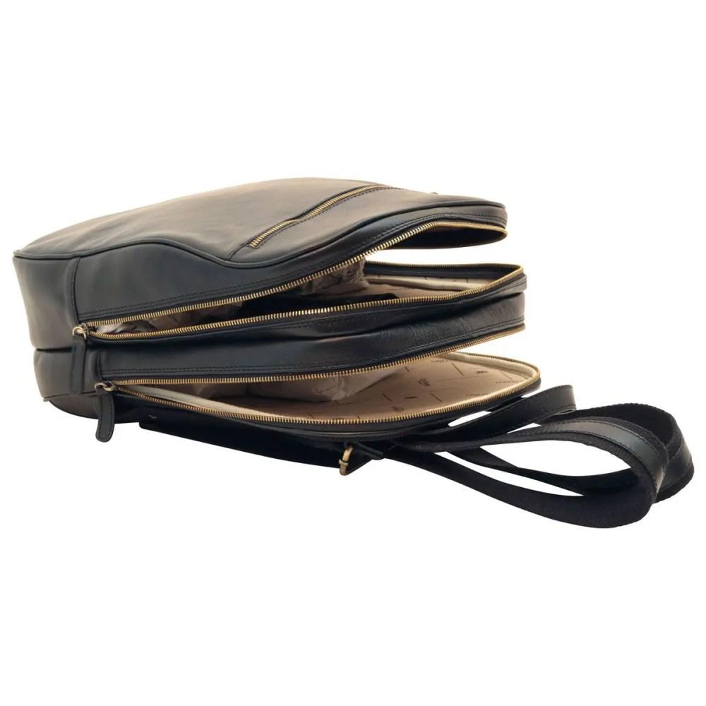 Offener Lederrucksack 13 Zoll Laptop Black