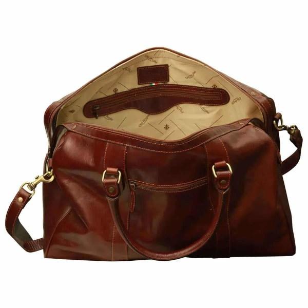 Offene Reisetasche mit Schultergurt braun