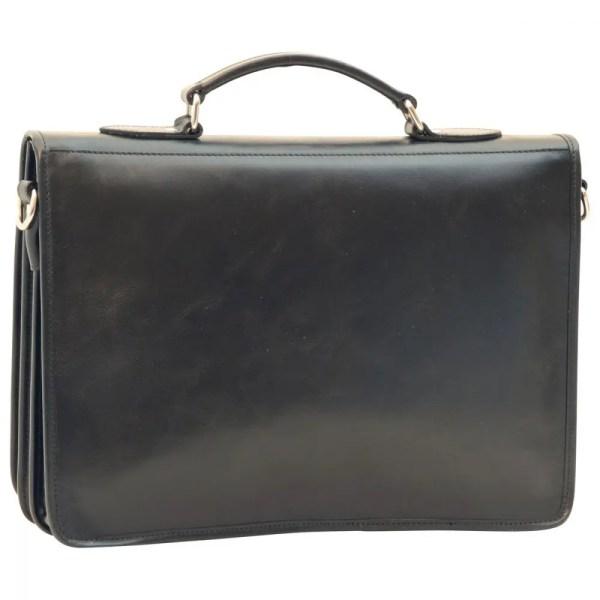 Rückansicht Aktentasche aus Leder schwarz