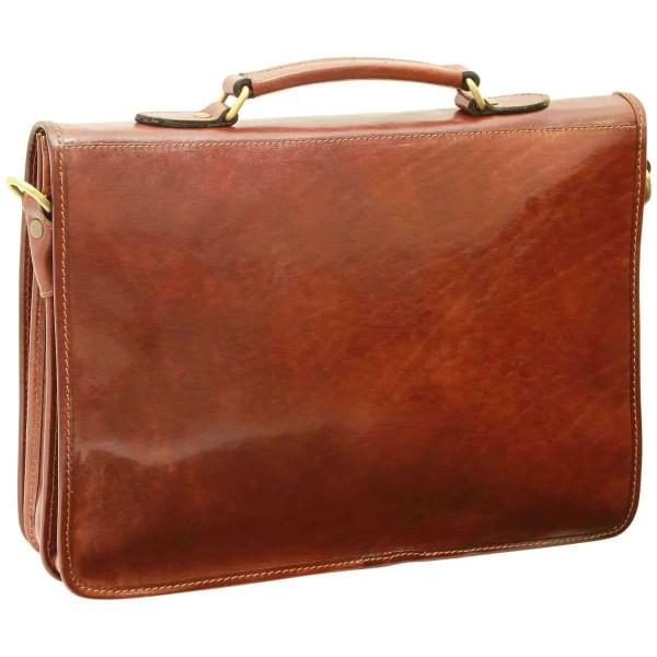 Rückansicht Aktentasche aus Leder braun