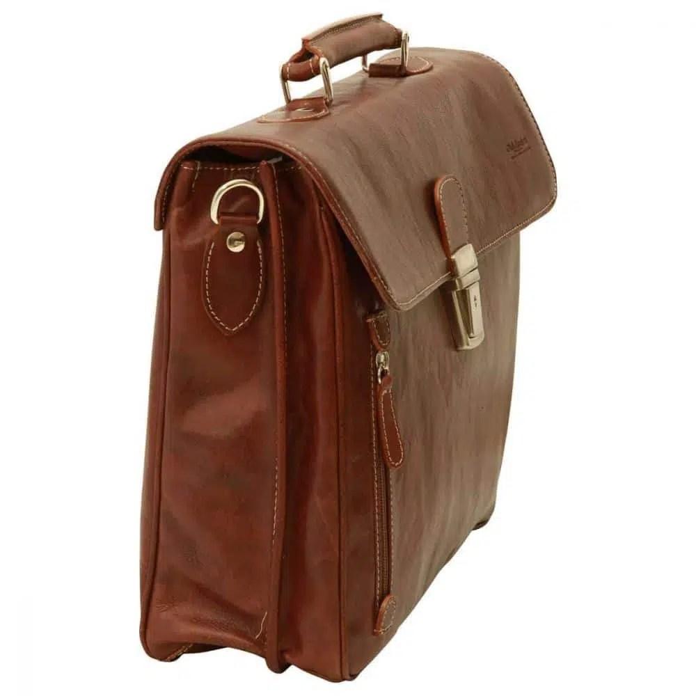 Quer stehende Laptoptasche 16 Zoll mit Schulterriemen Kastanie
