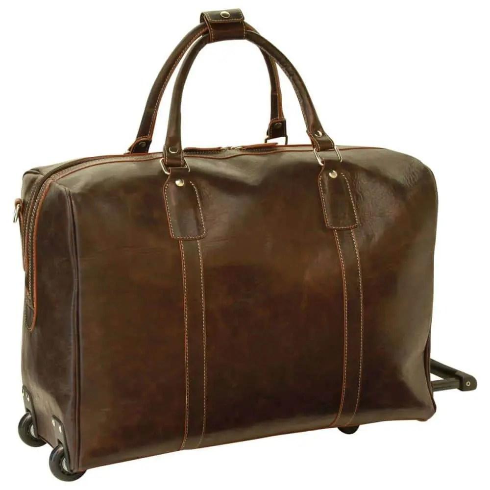 Quer Duffle Bag geöltes Kalbsleder dunkelbraun