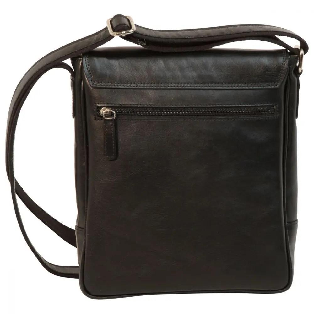 Rückseite IPad Tasche aus Leder Schwarz
