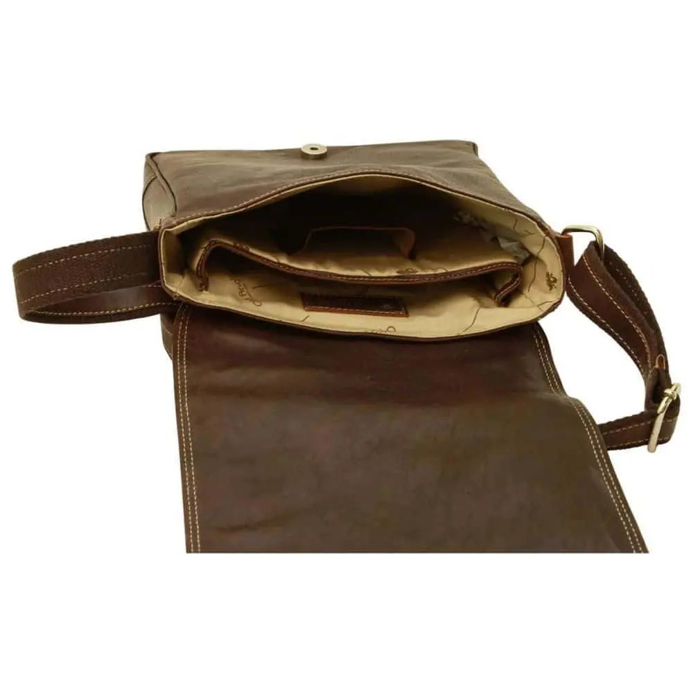 Offene IPad Tasche aus Leder Dunkelbraun