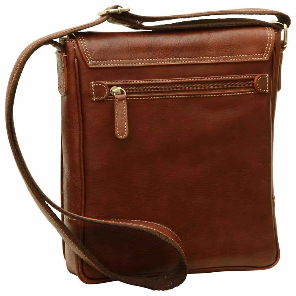 Rückseite IPad Tasche aus Leder Kastanie