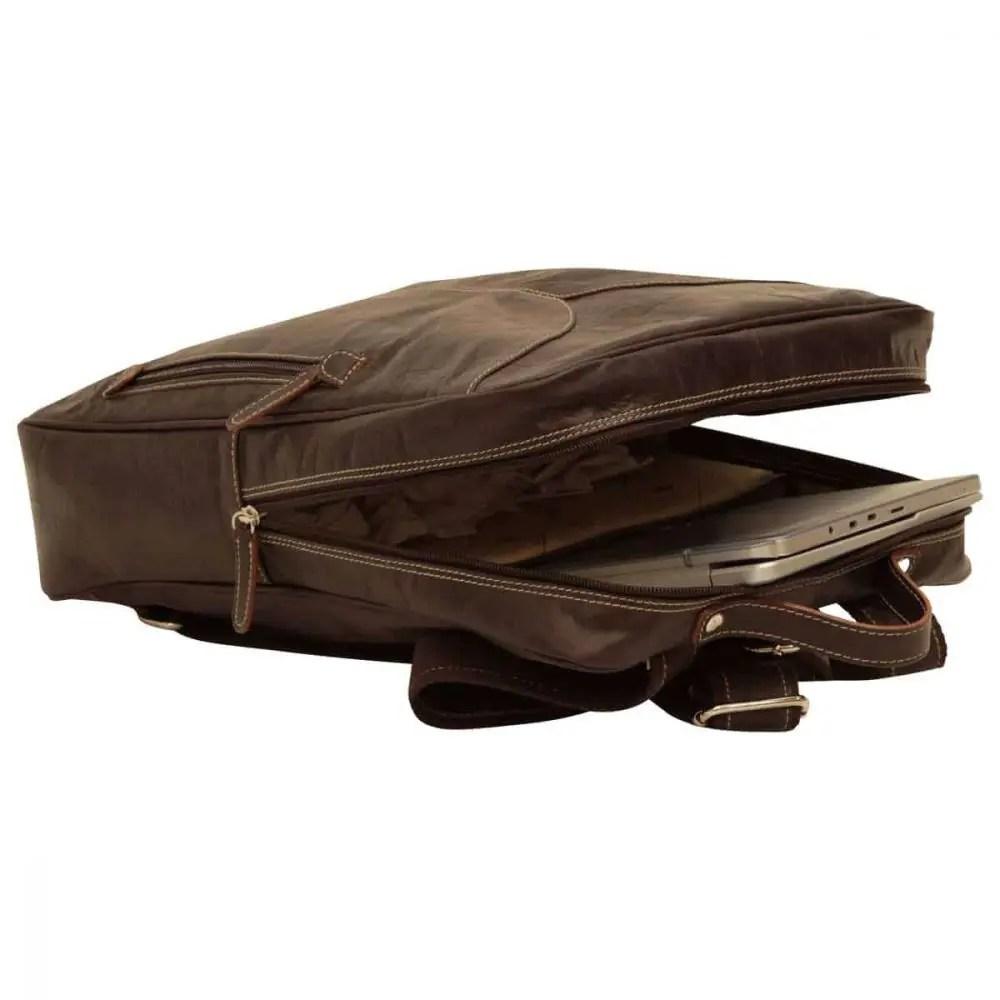 Liegender Lederrucksack 15 Zoll Dunkelbraun