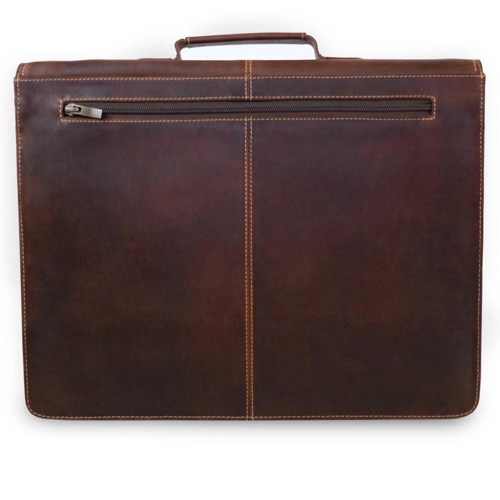 Leder Briefcase Sierra Braun Rückseite