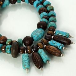 Lovely wood and faux turquoise.