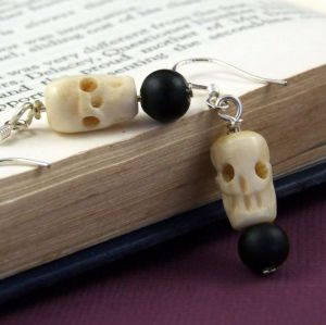 Hand carved bone earrings - perfect for Halloween
