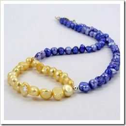Freshwater Pearl Necklace in Blue and Yellow