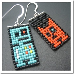 Robot Earrings - Lenny and Friend by Pardalote on Etsy