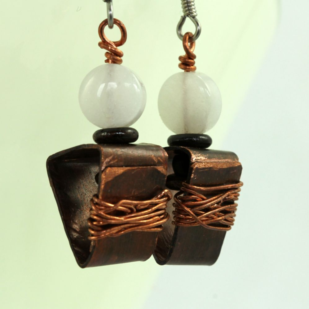 Handmade Copper and Moonstone Dangle Earrings