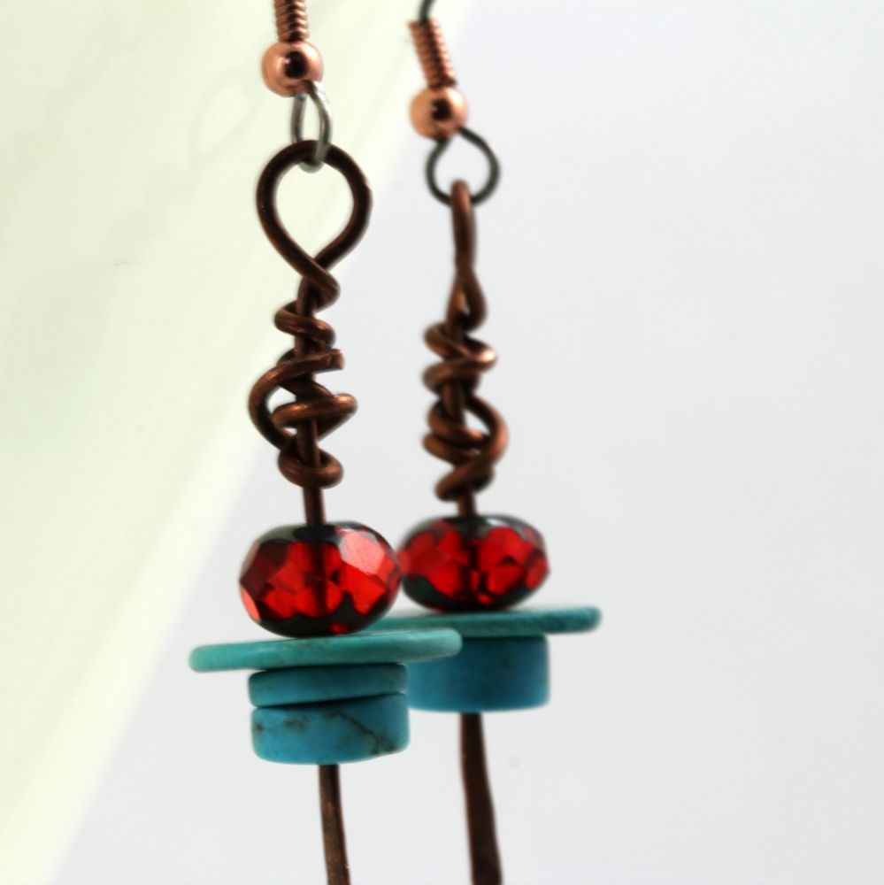 Copper Earrings with Faux Turquoise