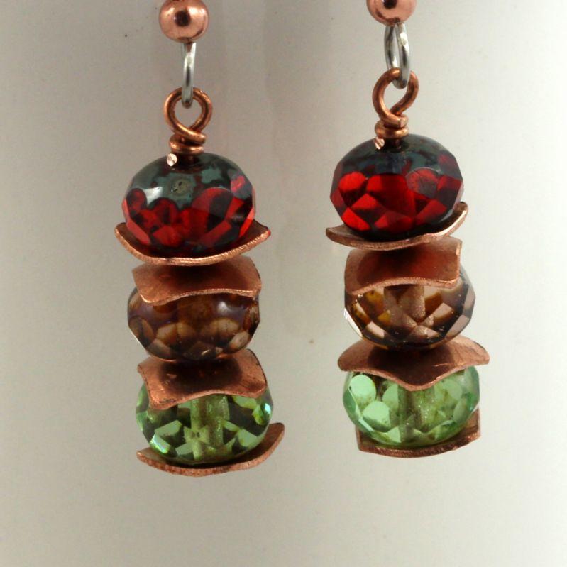 Earthy tones with copper - dangle earrings
