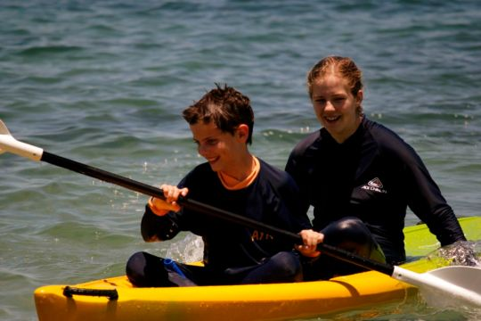 Learning to manouver the sea kayak with Georg