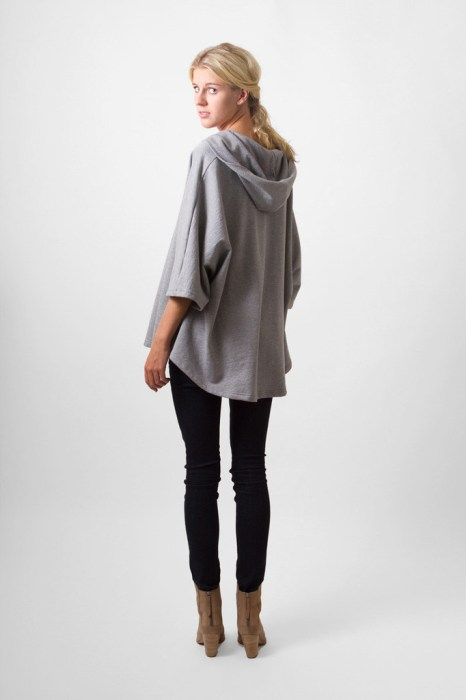 Grey marl hooded poncho by Bell+Beau
