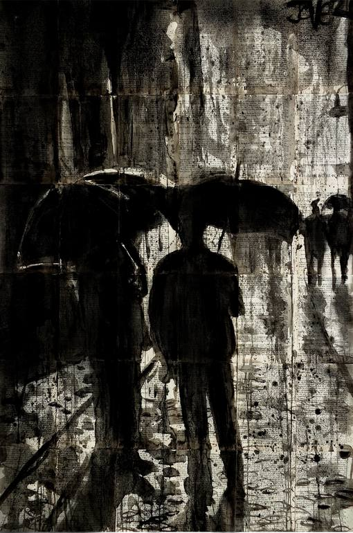 men with umbrellas ink drawing on vintage paper