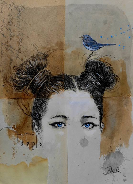 woman with blue bird ink drawing on vintage music paper