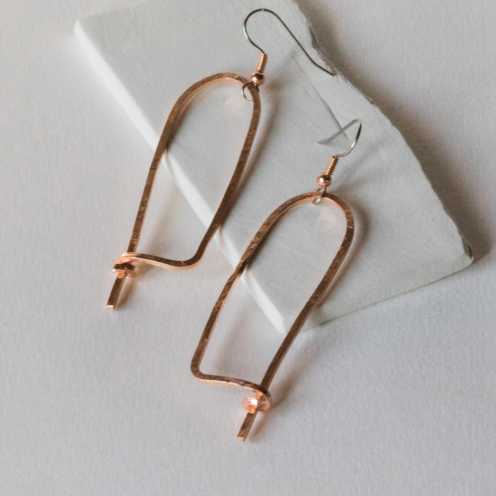 Handmade Copper Wire Earrings: \'Hopelessly Hooked\' | Tasha Chawner