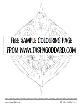 Sample colouring page from A Bunch of Flowers - a grown-up colouring book by Tasha Goddard | www.tashagoddard.com