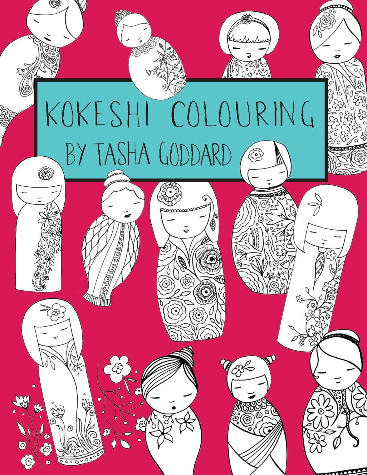 Kokeshi Colouring Book by Tasha Goddard - buy from https://www.etsy.com/uk/listing/531232504/kokeshi-colouring