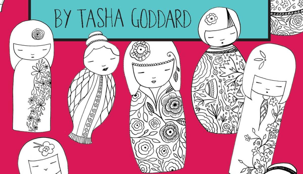 Kokeshi Colouring Book by Tasha Goddard - buy from https://www.etsy.com/uk/listing/531232504/kokeshi-colouring