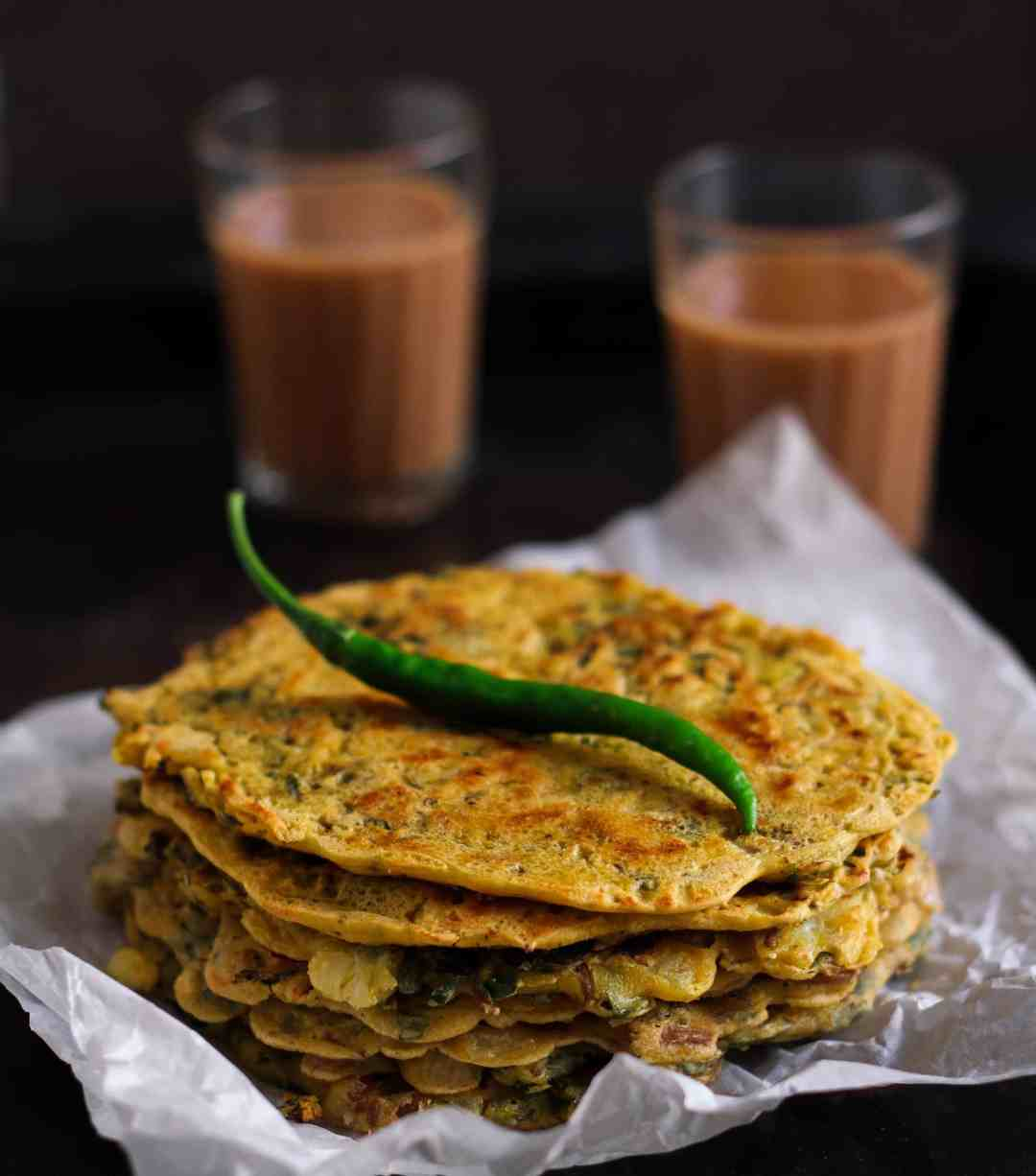 Besan Cheela w/ Purslane chickpea flour pancakes brunch vegan, healthy, glutenfree