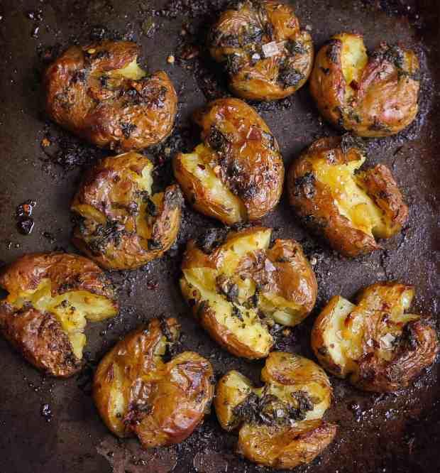 Garlic Basil Smashed Potatoes vegan glutenfree healthy easy recipe