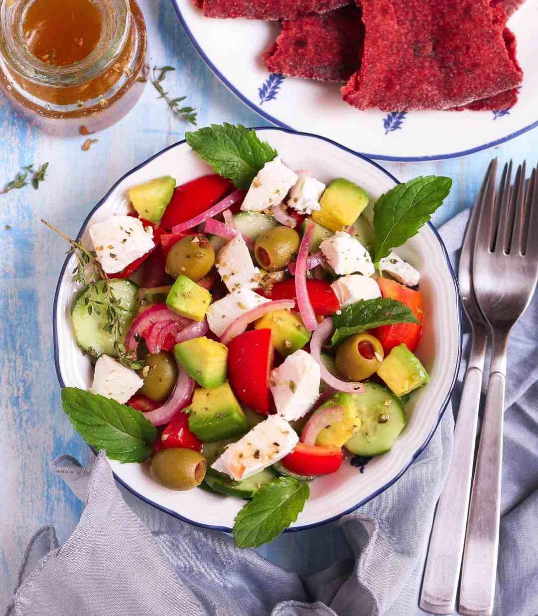 Greek Salad healthy vegetarian easy recipe glutenfree