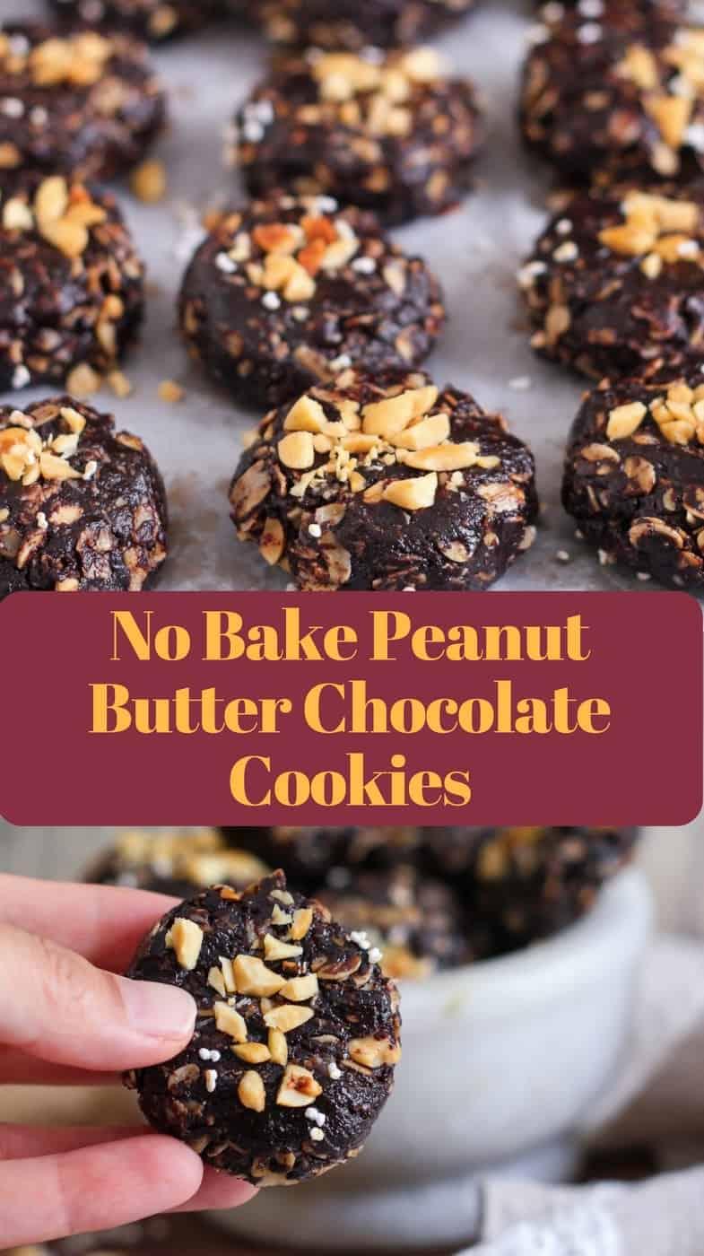 No bake peanut butter chocolate cookies vegan dairy free healthy easy recipe